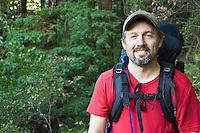 Backpacker portrait, Pine Ridge Trail, Big Sur, California.