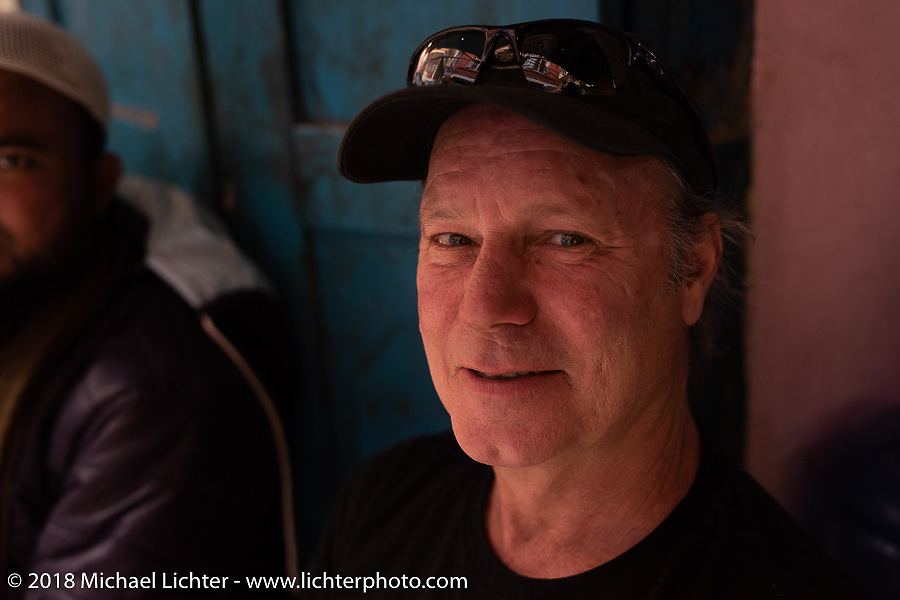 Jonathan Pite in a back alley teahouse in Kathmandu after our Himalayan motorcycling adventure, Nepal. Friday, November 16, 2018. Photography ©2018 Michael Lichter.