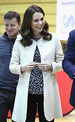 The Duchess of Cambridge watches wheelchair basketball during a SportsAid event at the Copper Box in the Olympic Park, London.