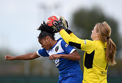 Libby Stout of Liverpool Ladies grabs the ball as Jade Boho-Sayo of Bristol Academy Women rises to head it - Mandatory by-line: Paul Knight/JMP - Mobile: 07966 386802 - 13/09/2015 -  FOOTBALL - Stoke Gifford Stadium - Bristol, England -  Bristol Academy Women v Liverpool Ladies FC - FA WSL Continental Tyres Cup