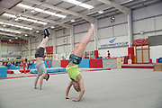 Katie Ormerod with Tyler Harding at the Leeds Gymnastic Club on 21st July 2017 in Leeds, United Kingdom. Leeds Gymnastic Club is one of the training facilities for the GB Snow team in the UK.