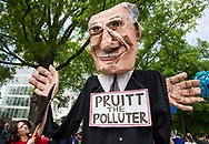 April 29, 2017, Pruit the Polluter puppet at the People's Climate March in Washignton D.C,