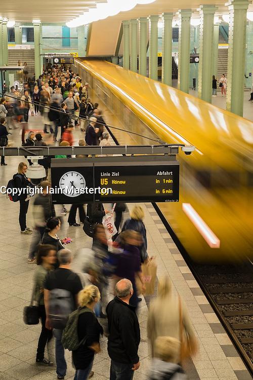 train at platform at Alexanderplatz subway station in Berlin Germany