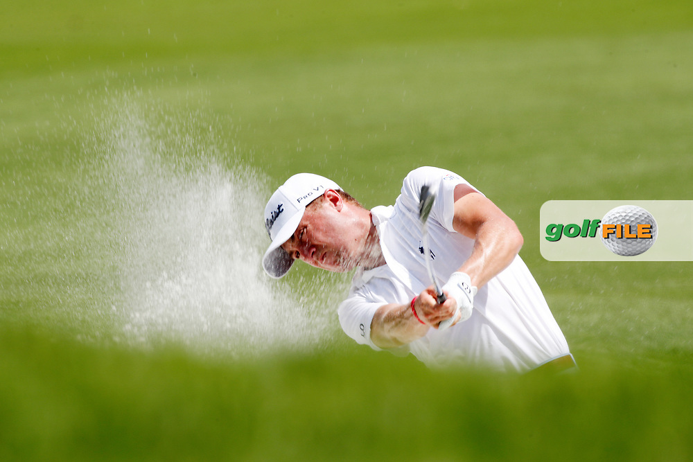 Justin Thomas (USA) hits out of the sand on the 8th hole during the first round of the 100th PGA Championship at Bellerive Country Club, St. Louis, Missouri, USA. 8/9/2018.<br /> Picture: Golffile.ie | Brian Spurlock<br /> <br /> All photo usage must carry mandatory copyright credit (© Golffile | Brian Spurlock)