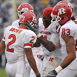 Oct 31, 2009; East Hartford, CT, USA; Rutgers players celebrate Rutgers wide receiver Tim Brown's (2) winning touchdown reception during second half Big East NCAA football action in Rutgers' 28-24 victory over Connecticut at Rentschler Field.