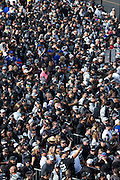Oakland Raiders fans wait to pass the security checkpoint before the NFL game against the Buffalo Bills at Oakland Coliseum in Oakland, Calif., on December 4, 2016. (Stan Olszewski/Special to S.F. Examiner)