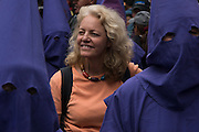 Renee Bish in Quito in Easter parade with Cucuruchos