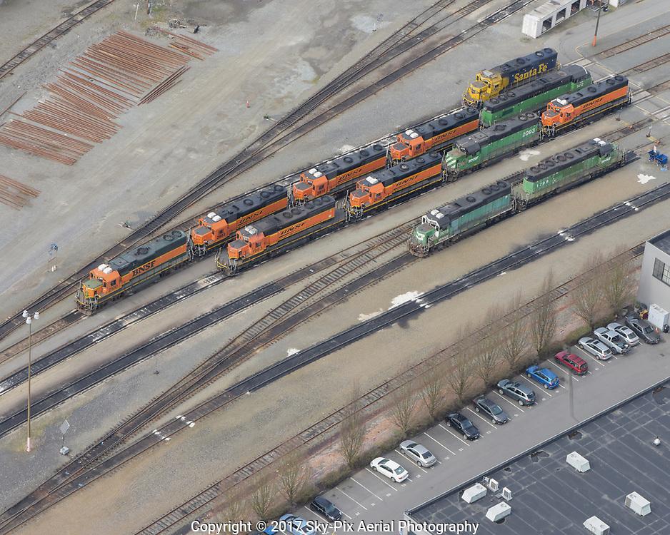 Locomotives in Balmer Rail Yard in the Interbay neighborhood of Seattle.
