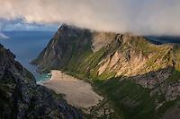 View over secluded Horseid beach from summit of Breiflogtind, Moskenesøy, Lofoten Islands, Norway