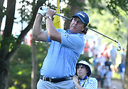 ST. LOUIS, MO - AUGUST 09: Phil Mickelson hits his tee shot on the #11 hole during the first round of the PGA Championship on August 09, 2018, at Bellerive Country Club, St. Louis, MO.  (Photo by Keith Gillett/Icon Sportswire)