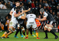 James King of Ospreys is tackled by Junior Pokomela of Cheetahs<br /> <br /> Photographer Simon King/Replay Images<br /> <br /> Guinness PRO14 Round 2 - Ospreys v Cheetahs - Saturday 8th September 2018 - Liberty Stadium - Swansea<br /> <br /> World Copyright © Replay Images . All rights reserved. info@replayimages.co.uk - http://replayimages.co.uk