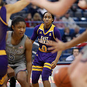 HARTFORD, CONNECTICUT- JANUARY 4: Justice Gee #0 of the East Carolina Lady Pirates in action during the UConn Huskies Vs East Carolina Pirates, NCAA Women's Basketball game on January 4th, 2017 at the XL Center, Hartford, Connecticut. (Photo by Tim Clayton/Corbis via Getty Images)
