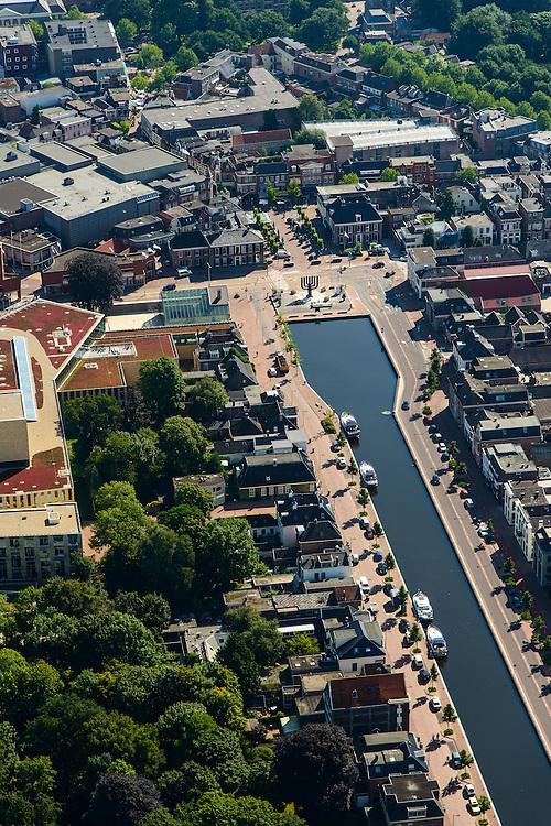 Nederland, Drenthe, Assen, 27-08-2013;<br /> Centrum Assen met winkelstraten en de Vaart ZZ:  de Kop van de Vaart met een Menora. <br /> Center of the village of Assen with shopping streets and Vaart ZZ (canal).<br /> luchtfoto (toeslag op standaard tarieven);<br /> aerial photo (additional fee required);<br /> copyright foto/photo Siebe Swart.