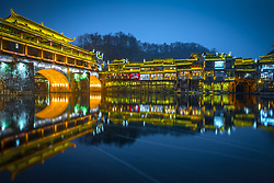 August 27, 2017 - China - Hunan, CHINA-27th August 2017: (EDITORIAL USE ONLY. CHINA OUT) Fenghuang (Phoenix) Ancient Town, an old town built up in Qing Dynasty, is still being kept in its original apperance with time passed. The town,located in central China's Hunan Province, is a gathering place for Miao and Tujia ethnic minority. Zealand writer Louis Eli praised the Phoenix Old Town as the most beautiful town in China.The old town is also dubbed as 'Emerald Lost by the God' due to its stunning scenery. (Credit Image: © SIPA Asia via ZUMA Wire)