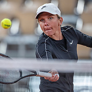 PARIS, FRANCE September 25. Simona Halep of Romania while training on Court Philippe-Chatrier in preparation for the 2020 French Open Tennis Tournament at Roland Garros on September 25th 2020 in Paris, France. (Photo by Tim Clayton/Corbis via Getty Images)