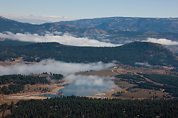 """""""Prosser Reservoir Aerial 1"""" - This photograph of a foggy Prosser Reservoir was shot from an amphibious seaplane with the door removed."""