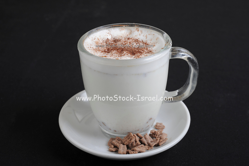 cup of Hot chocolate flavoured milk On black Background