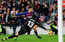 BARCELONA, Jan. 14, 2019  SP)SPAIN-BARCELONA-SOCCER-LA LIGA-BARCELONA VS EIBAR.    Eibar's goalkeeper Asier Riesgo (F) defends against Barcelona's Philippe Coutinho.    during a Spanish league match between FC Barcelona and SD Eibar in Barcelona, Spain, on Jan. 13, 2019. FC Barcelona won 3-0. (Credit Image: © Joan Gosa/Xinhua via ZUMA Wire)