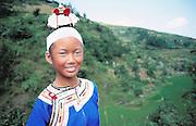 Smiling Miao girl, traditional costume, Duyun, Guizhou Province, China,