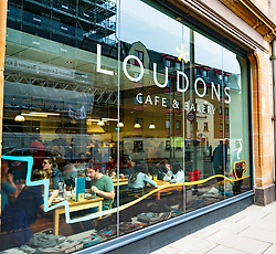 Exterior view of Loudons cafe in Fountainbridge district of Edinburgh, Scotland, United Kingdom
