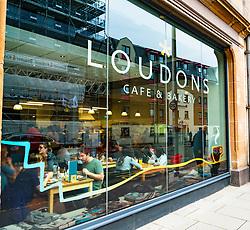 Exterior view of Loudons cafe in Fountainbridge district of Edinburgh, Scotland, United Kingdom