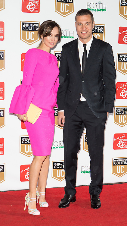 © Licensed to London News Pictures . 27/03/2014 . Manchester , UK . Nemanja Vidic arrives at a gala dinner at Manchester United Football Club in support of United for Colitis , in aid of Crohn's And Colitis UK . Photo credit : LNP
