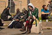Housing activists sit with their belongings after having been evicted by bailiffs from properties at the Sweets Way housing estate on 23rd September 2015 in London, United Kingdom. A group of housing activists calling for better social housing provision in London had occupied properties on the 142-home estate in Whetstone, in a few cases refurbishing properties intentionally destroyed by the legal owners following eviction of the original residents, in order to try to prevent the eviction of the last resident on the estate and the planned demolition and redevelopment of the entire estate by Barnet Council and Annington Property Ltd.