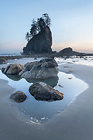 Twilight at Second Beach during low tide, Olympic National Park Washington