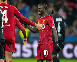SALZBURG, AUSTRIA - Tuesday, December 10, 2019: Liverpool's Sadio Mané celebrates after his side's first goal during the final UEFA Champions League Group E match between FC Salzburg and Liverpool FC at the Red Bull Arena. (Pic by David Rawcliffe/Propaganda)