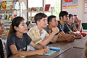 ICS volunteer attend their Active citizen day to learn about deforestation The session generates a good discussion and takes place in the library of the local school in Banteay Char, near Battambang, Cambodia.
