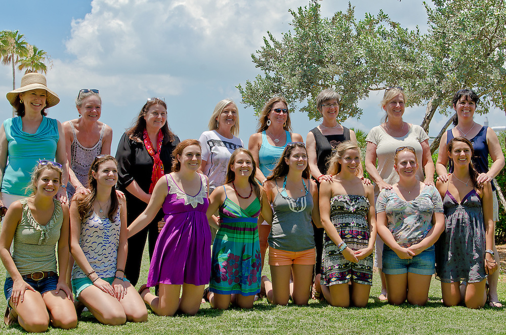 A group shot of the moms with their daughters at a picnic the day prior to the 2012 Eckerd College Graduation.