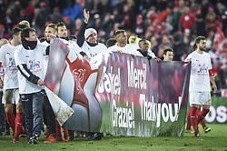 November 12, 2017 - Basel, Schweiz - Basel, 12.11.2017, Fussball WM Qualifikation Playoff - Schweiz - Nordirland, Jubel zur gewonnenen Qualifikation beim Schweizer Team (SUI) (Credit Image: © Melanie Duchene/EQ Images via ZUMA Press)