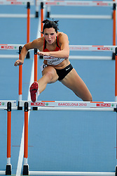 30-07-2010 ATLETIEK: EUROPEAN ATHLETICS CHAMPIONSHIPS: BARCELONACindy Roleder of Germany competes during the first round of the women's 100m hurdles<br /> ©2010-WWW.FOTOHOOGENDOORN.NL