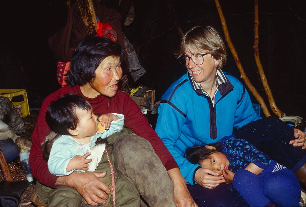 Olga Tinachvanau, grand daughter and Nancy Shute inside yranga, Chukchi reindeer camp, Senyavina Strait, Chukotsk Peninsula, NE Russia, 1992