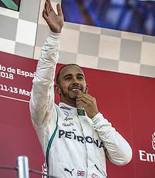 May 13, 2018 - Barcelona, Catalonia, Spain - LEWIS HAMILTON (GBR) of Mercedes celebrates his victory of the Spanish GP on the podium at the Circuit de Barcelona - Catalunya (Credit Image: © Matthias Oesterle via ZUMA Wire)