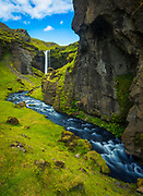 Kvernufoss waterfall in the Southern Region of Iceland