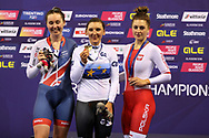 Katie Archibald (Great Britain), Lisa Bennhauer (Germany) and Justyna Kaczkowska (Poland) on the 3000 km pursuit podium during the Track Cycling European Championships Glasgow 2018, at Sir Chris Hoy Velodrome, in Glasgow, Great Britain, Day 3, on August 4, 2018 - Photo Laurent lairys / ProSportsImages / DPPI