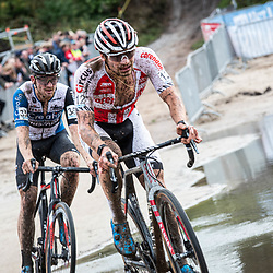 2019-10-13: Cycling: Superprestige Veldrijden: Gieten: David van der Poel and Sieben Wouters batteling at the beach of Gieten