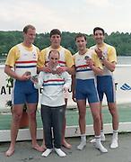 Essen, GERMANY, left to right XXXXX XXXXXXX, Alex STORY, Pete BRIDGE, Gavin STEWART and cox Garry HERBERT pose with their medal for GBR M4+ after competing in the Essen International Regatta 1995. [Photo, Peter Spurrier/Intersport-images]