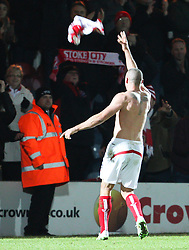 Stoke City's Jonathan Walters throws his shirt to the crowd - Photo mandatory by-line: Matt McNulty/JMP - Mobile: 07966 386802 - 26/01/2015 - SPORT - Football - Rochdale - Spotland Stadium - Rochdale v Stoke City - FA Cup Fourth Round