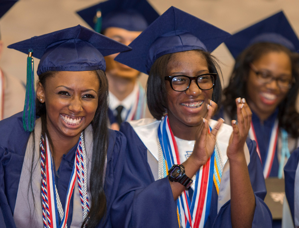 Houston Academy for International Studies seniors participate in a graduation ceremony at Butler Fieldhouse, May 31, 2014.