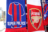 Crystal Palace & Arsenal scarfs on display for sale outside the Emirates Stadium before k/o. Barclays Premier league match, Arsenal v Crystal Palace at the Emirates Stadium in London on Sunday 17th April 2016.<br /> pic by John Patrick Fletcher, Andrew Orchard sports photography.