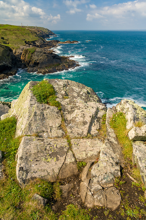 Cornwall coastline at Pendeen with old tin mines.