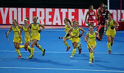 Australia's Ambrosia Malone (centre) celebrates scoring her sides first goal with teammates