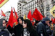 March 28th 2006. Paris, France...For the first time in two months, worker unions join students to protest against the government's controversial youth employment laws, known as CPE.  About a million people are estimated to have demonstrated across France. Because of the frightening acts of violence that happenned during the March 23rd protest, 4000 cops were around the  demonstration in Paris.