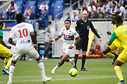 Depay Memphis of Lyon and Traore Bertrand of Lyon during the French Championship Ligue 1 football match between Olympique Lyonnais and FC Nantes on April 28, 2018 at Groupama Stadium in Décines-Charpieu near Lyon, France - Photo Romain Biard / Isports / ProSportsImages / DPPI