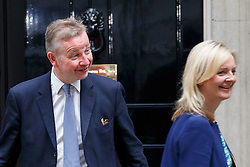 © Licensed to London News Pictures. 12/05/2015. LONDON, UK. Justice Secretary Michael Gove and Environment, Food and Rural Affairs Secretary Liz Truss attending to the first Conservative cabinet meeting after the 2015 general election in Downing Street on Tuesday, 12 May 2015. Photo credit: Tolga Akmen/LNP