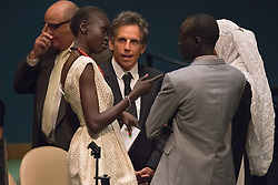 September 16, 2016 - New York, NY, United States - Ben Stiller converses with Alek Wek (left_) and Yiech Pur Biel (right) after the ceremony. Three days before the opening of the United Nations high-level Summit on Addressing Large Movements of Migrants and Refugees (September 19), Actor Ben Stiller and former refugee celebrities presented a petition from the #WithRefugees campaign to the UN.  On behalf of the UN, Secretary-General Ban Ki-moon and UN High Commissioner for Refugees Filippo Grandi participated in the event. (Credit Image: © Albin Lohr-Jones/Pacific Press via ZUMA Wire)