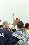 Demonstrators for the Palestinian cause gather in Berlin Potsdamer Platz.Berlin, Germany