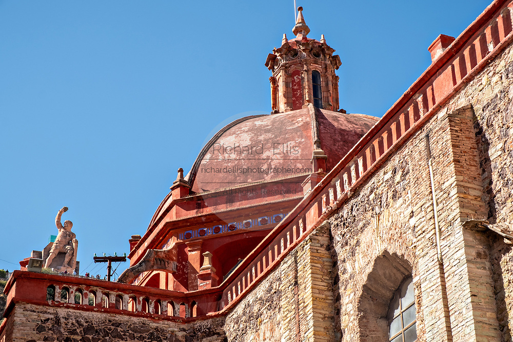Dome of the Churrigueresque style Saint Diego Church or Iglesia de San Diego in the historic center of Guanajuato City, Guanajuato, Mexico.
